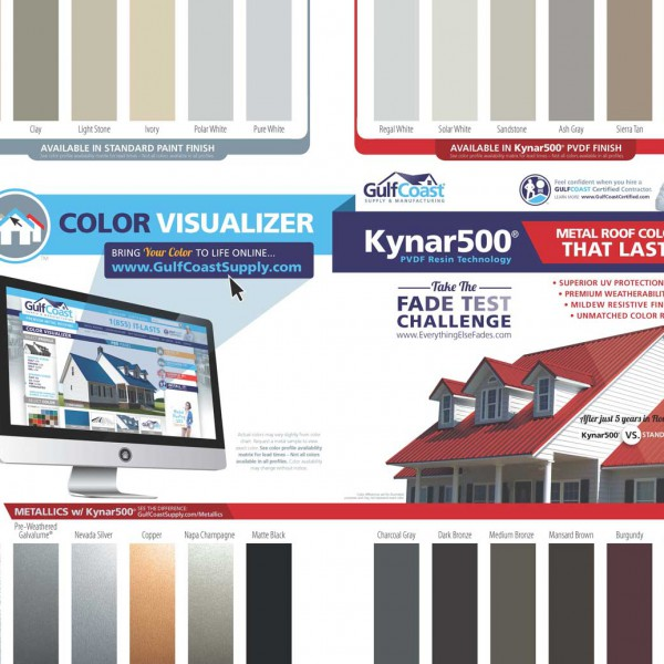 Gulf Coast metal roofs are available in a wide variety of colors