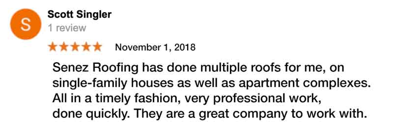 Ed Senez Roofing Specialist customer review